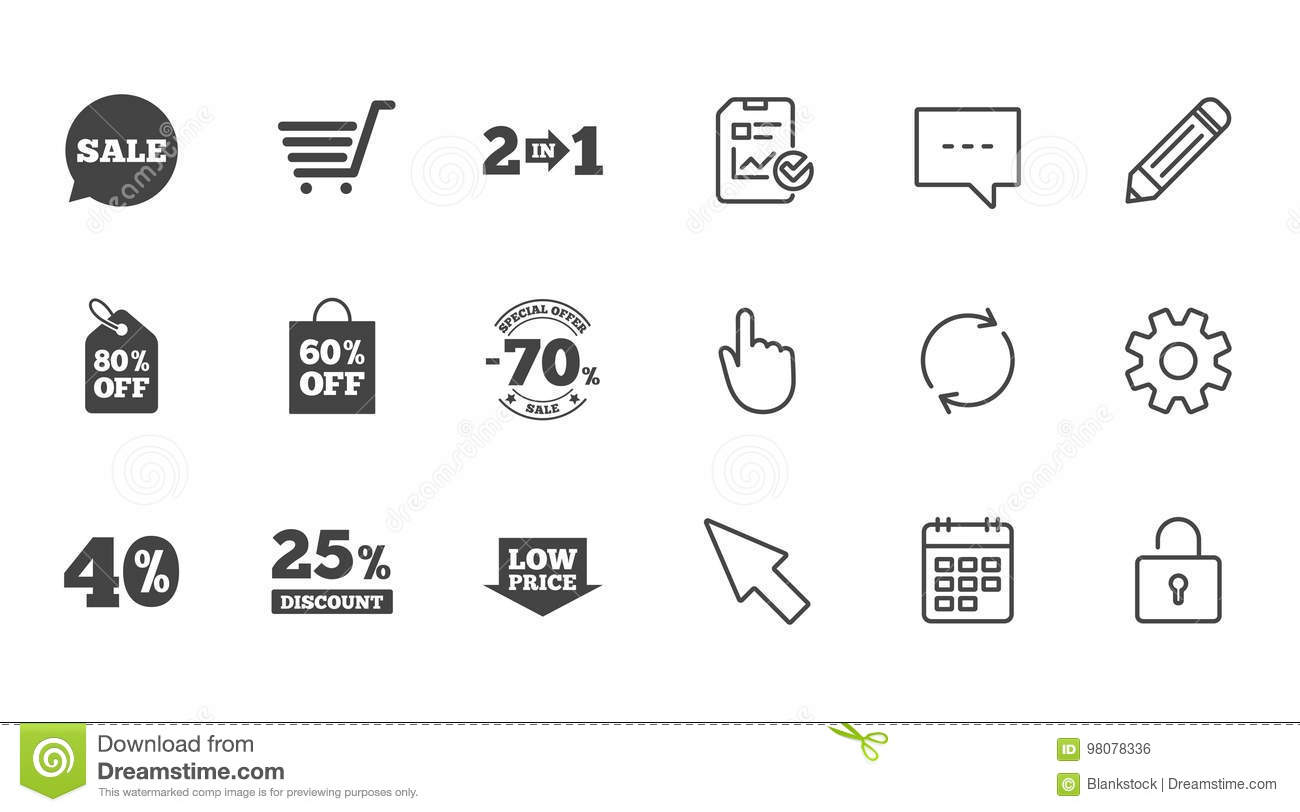 Sale discounts icon shopping deal signs stock vector shopping cart coupon and low price signs 25 40 and 60 percent off special offer symbols chat report and calendar line signs biocorpaavc Choice Image