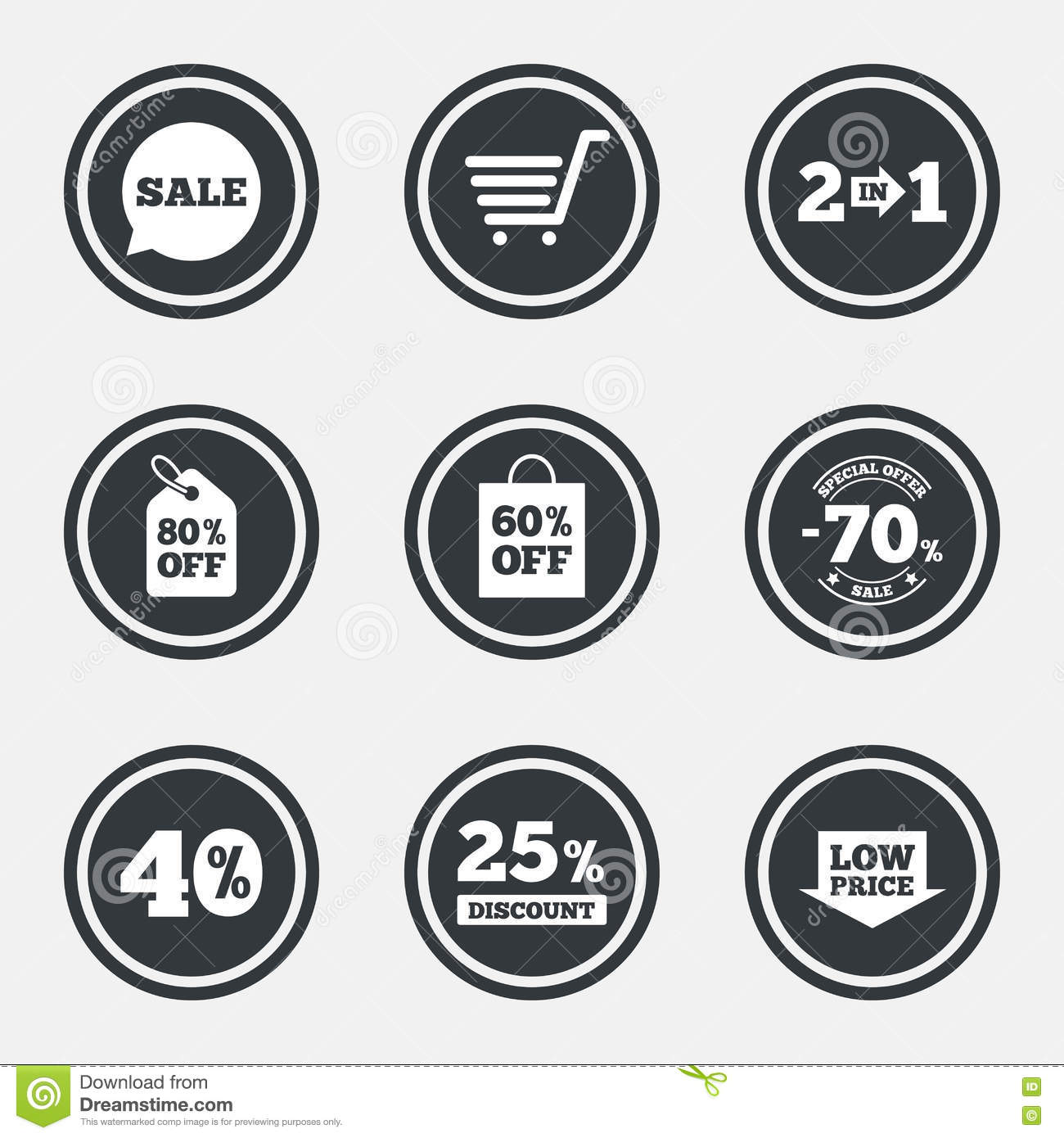 Sale Discounts Icon. Shopping, Deal Signs. Stock Vector ...