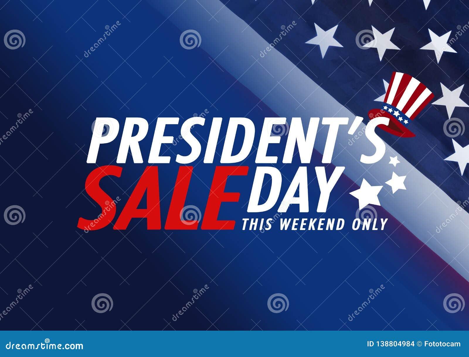 Sale för president`-dag baner med amerikanska flaggan- och stjärnabakgrund