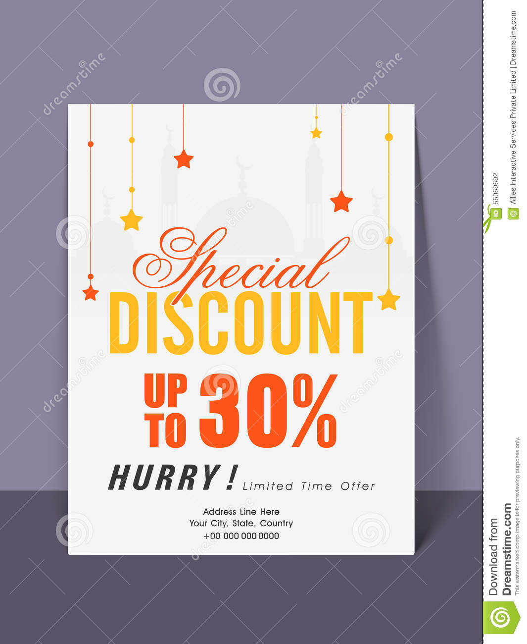 sale flyer or template for eid mubarak celebration  stock