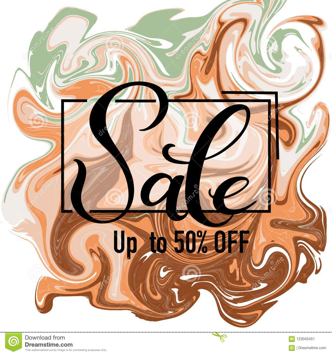 Sale hand drawn lettering with vector abstract background