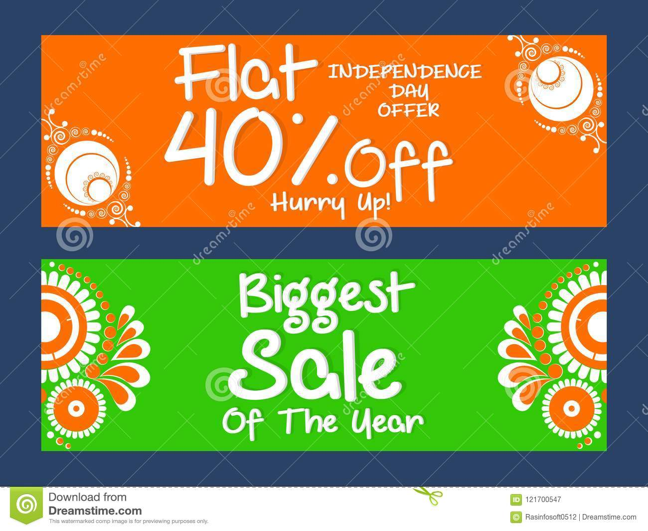 Sale Header For Independence Day Of India Or 15th Of August Stock