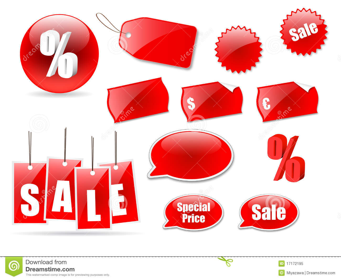 Sale icons and labels