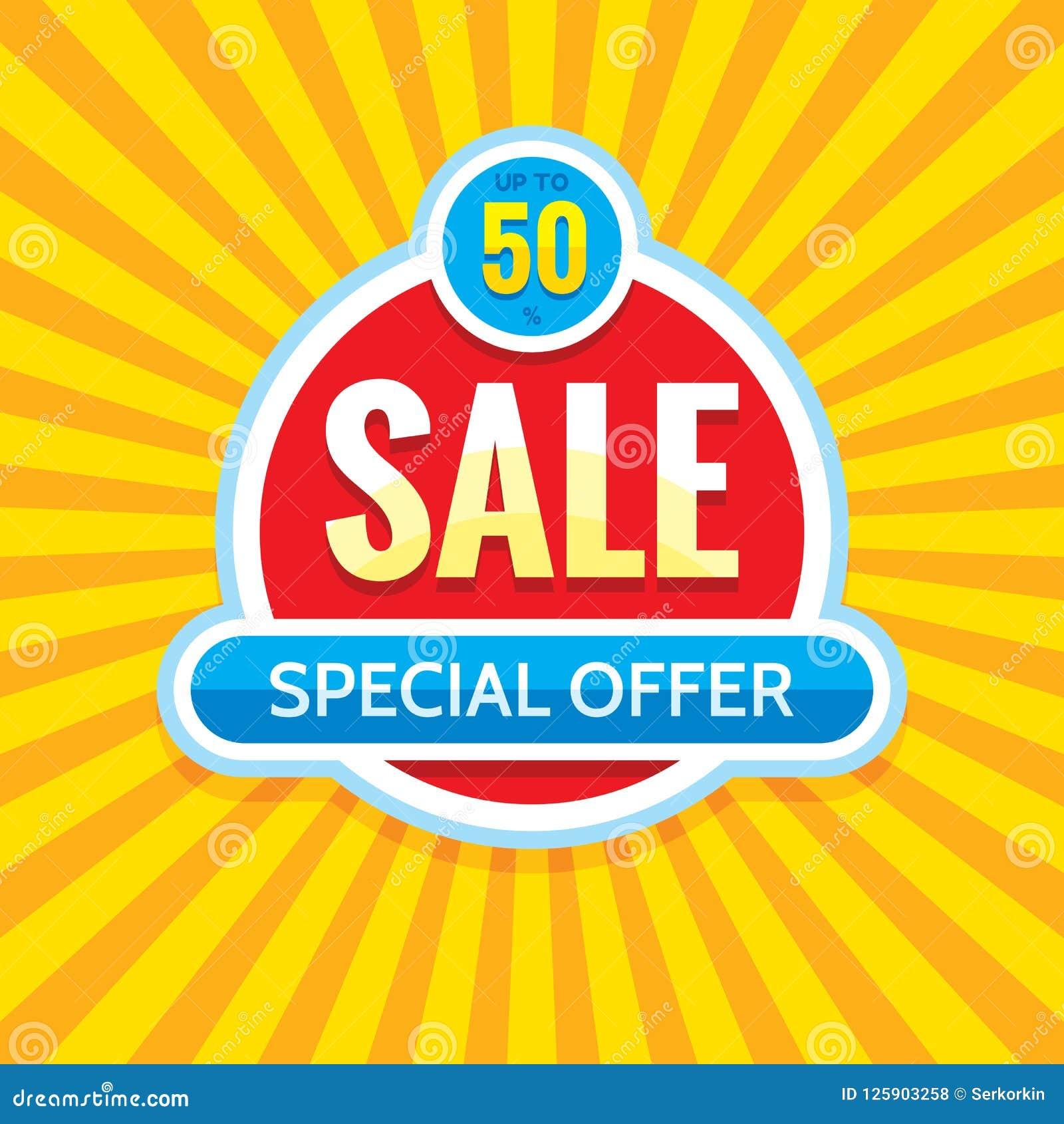Sale - idérik banervektorillustration Abstrakt orientering för befordran för begreppsrabatt 50  Klistermärke för specialt erbjuda