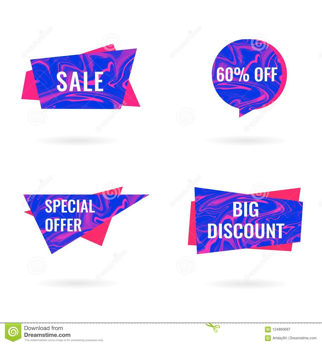 Sale isolated banners set. Big Sale and Discount offer stickers, tags, labels or paper banners set on white background. Blue and
