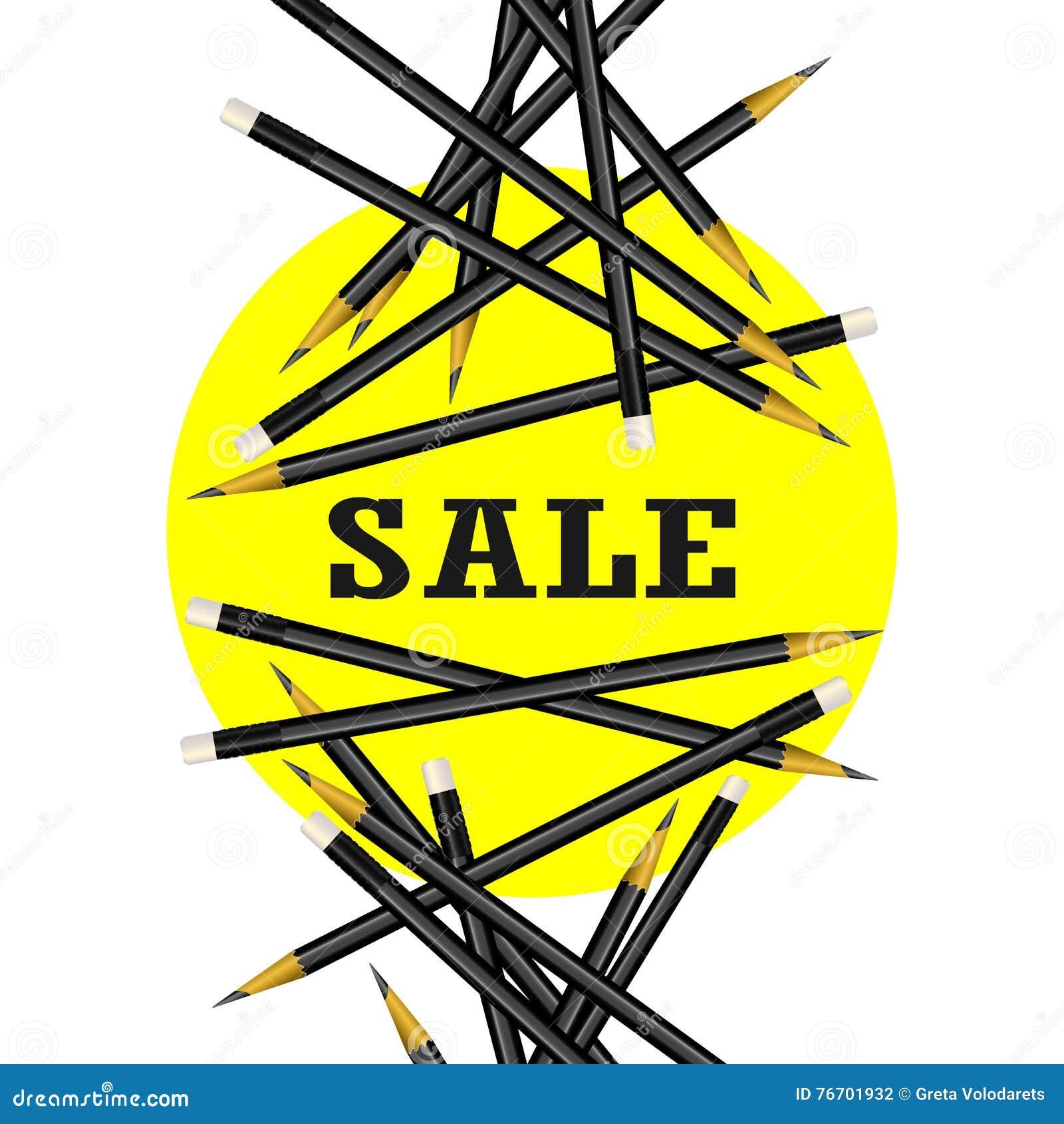 Sale klistermärke Gul bakgrund Blyertspennavektorillustration