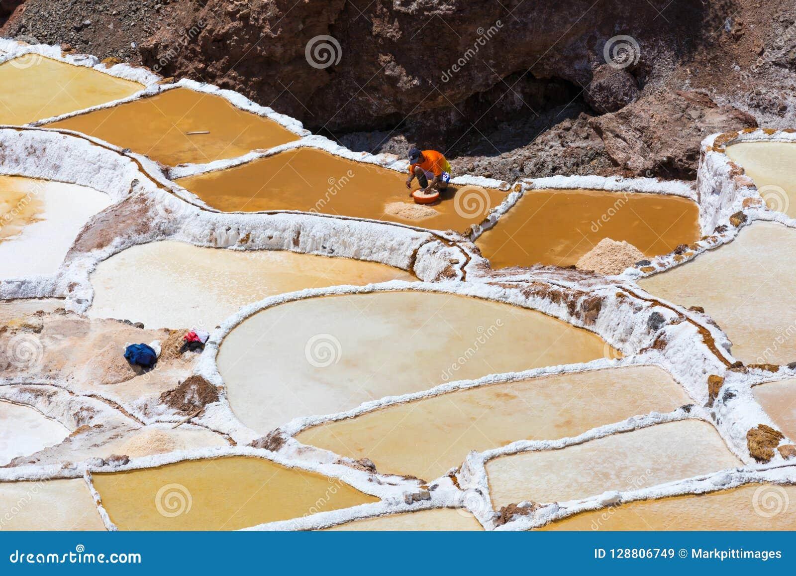 Sale la colección en las cacerolas de la sal de Moray Peru