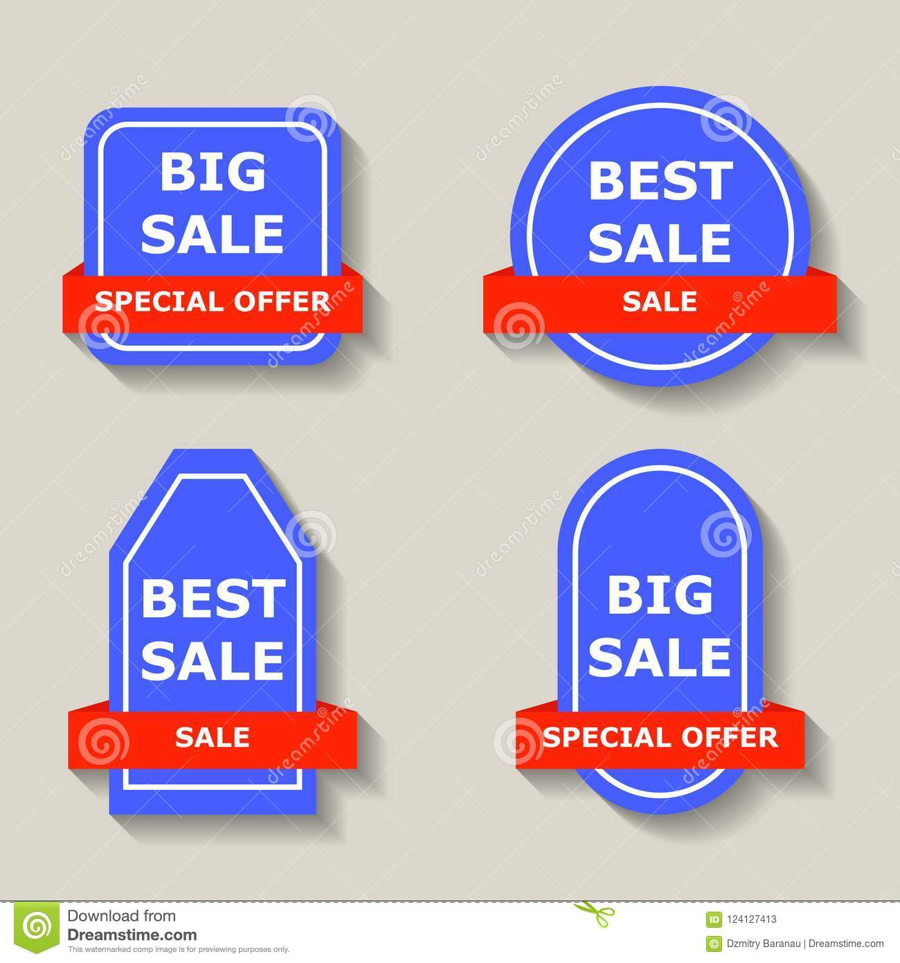 Offer Tag Banner Fashion Symbol Isolated Concept Red Advertising Design Paper Flyer Sign Blue Retail Summer Special Sticker Gift Shape Card