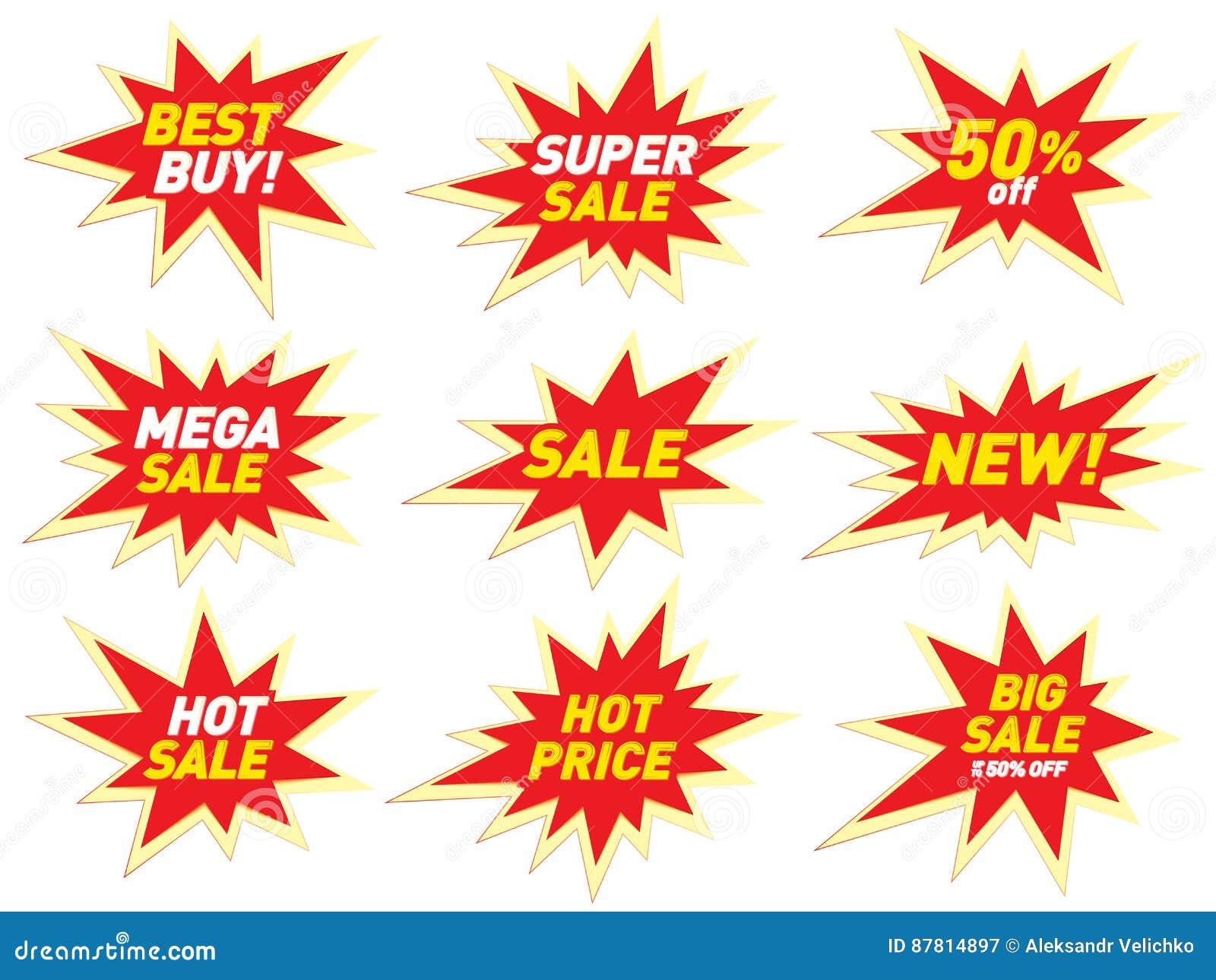 Sale label price tag banner star badge template sticker design.