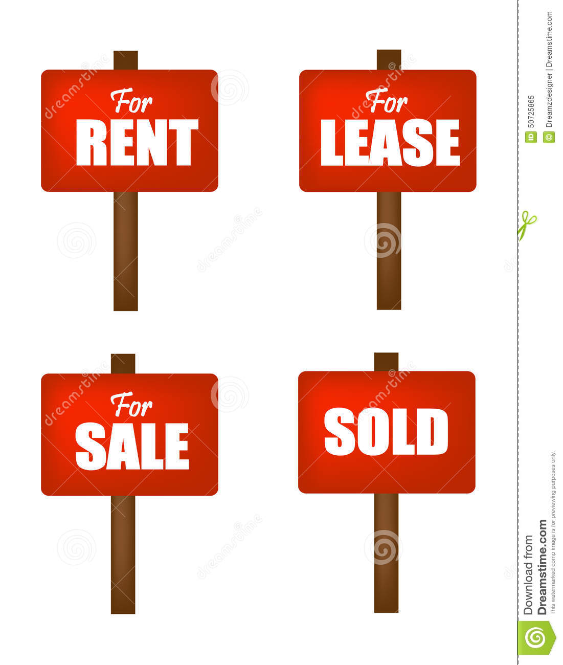For Sale Sold Sign: Sale , Lease, Rent And Sold Sign Boards Stock Vector