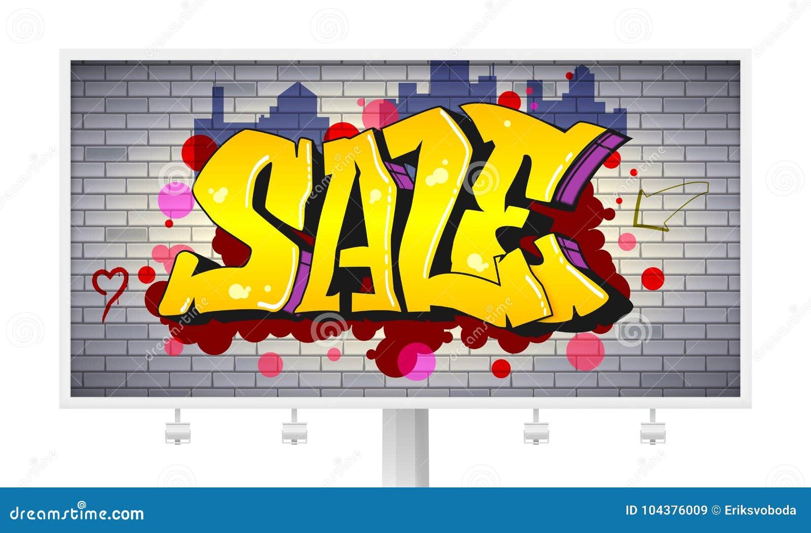 Sale lettering in hip hop graffiti style urban ad horizontal billboard