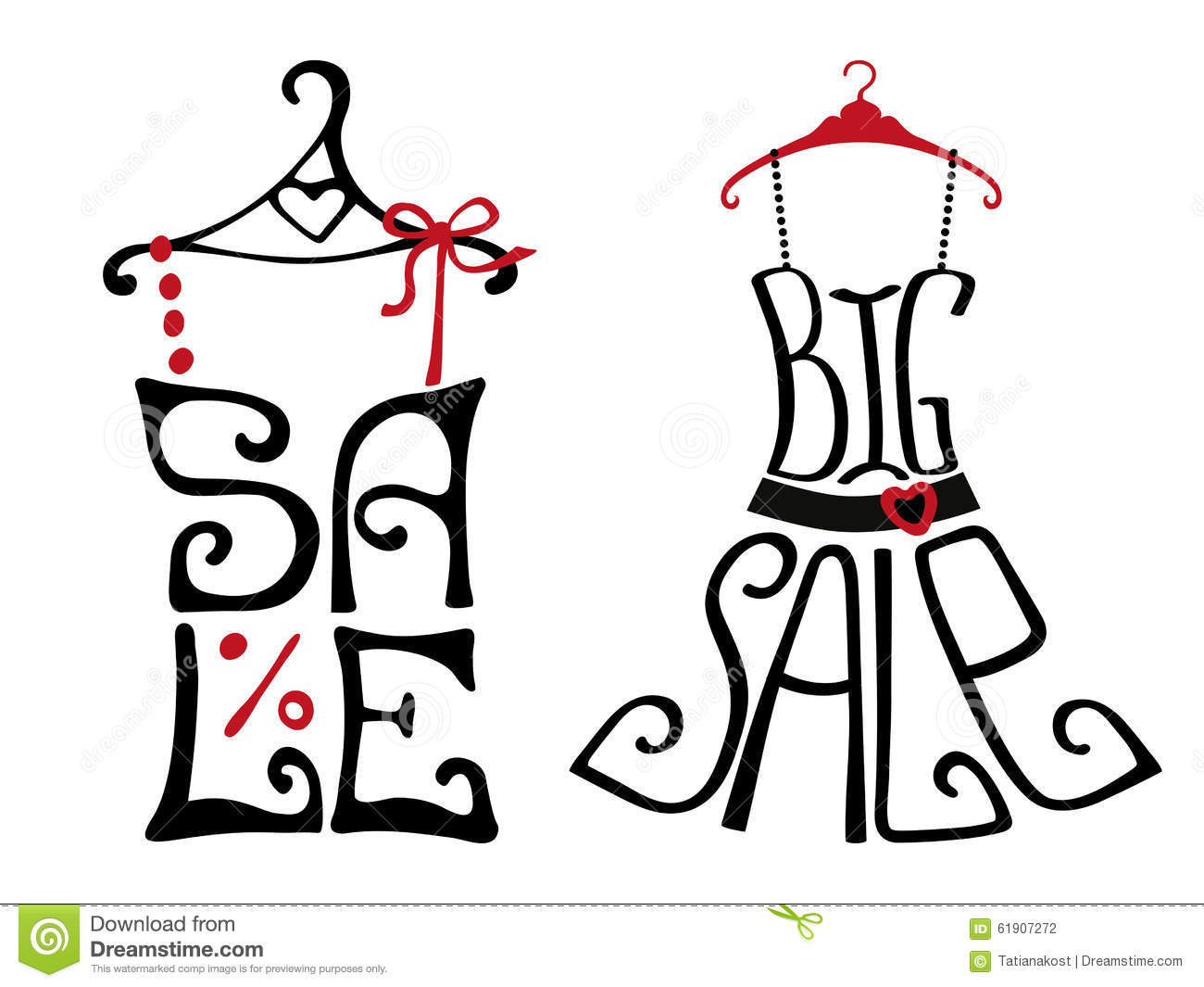 71c09385a Big Sale lettering in shirt and dress shape.Icons set.Summer Fashion vector,Typographic  background design.Shirt hanging on hanger. Illustration.For poster ...