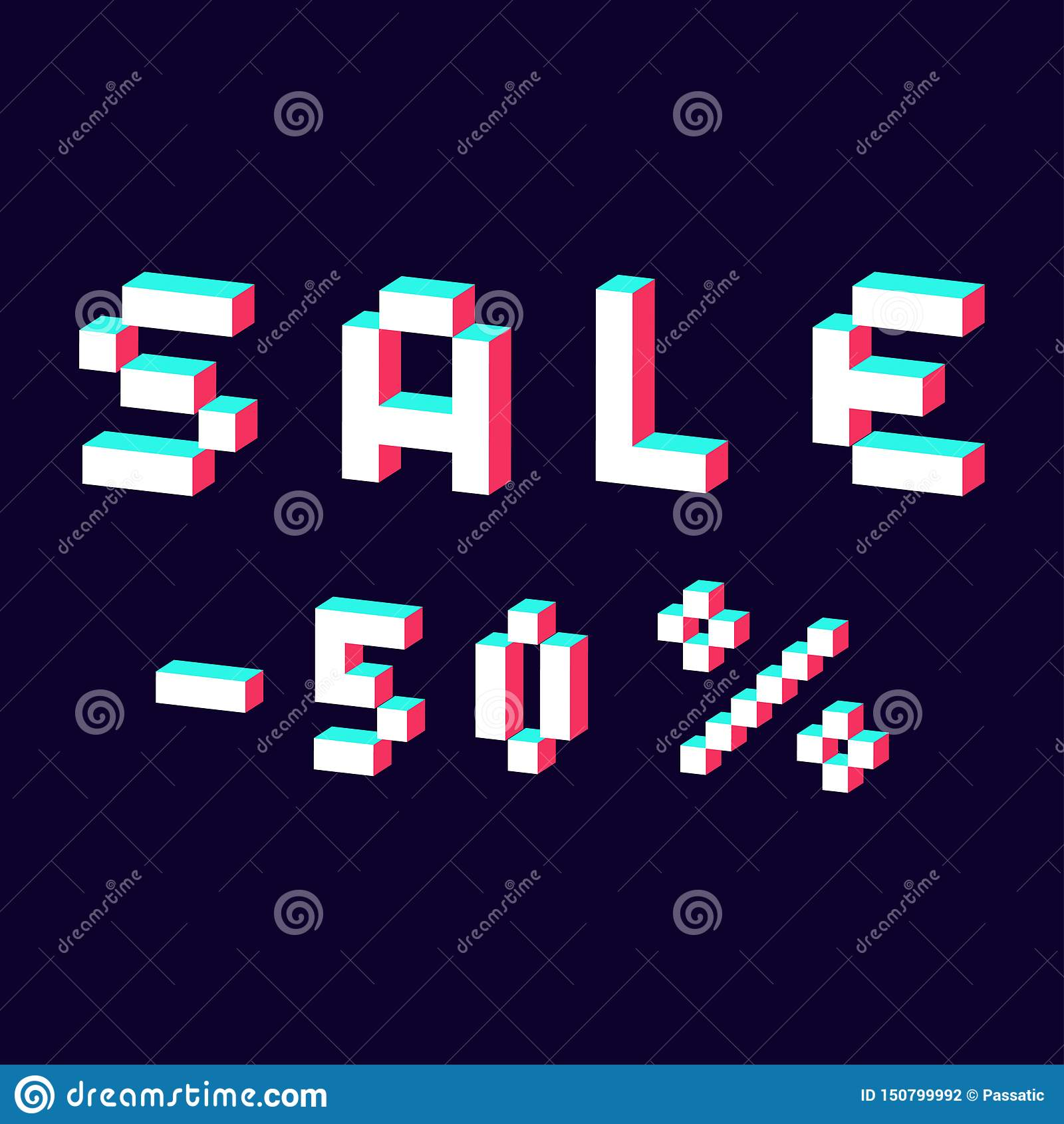 Sale made with pixel 3d digital font