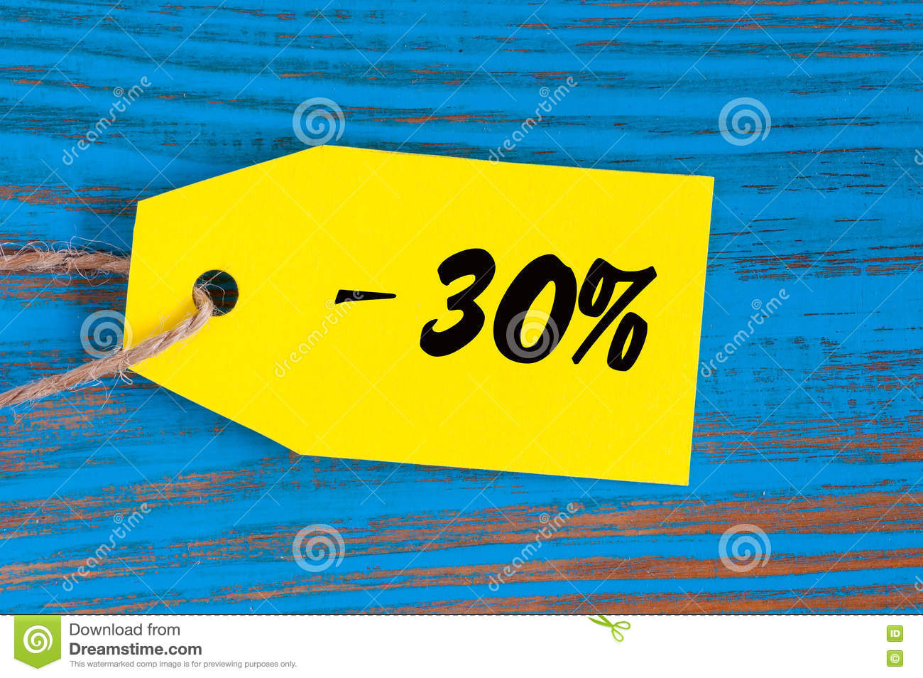 Sale minus 30 percent. Big sales thirty percents on blue wooden background for flyer, poster, shopping, sign, discount