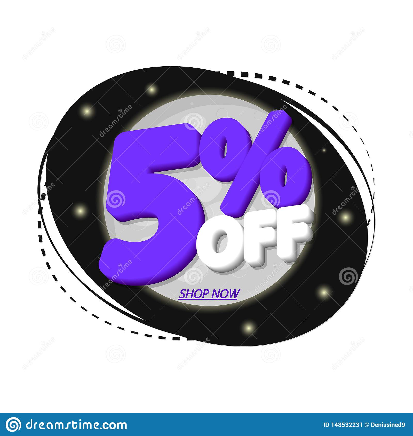 Sale 5  off, discount banner design template, extra promo tag, vector illustration