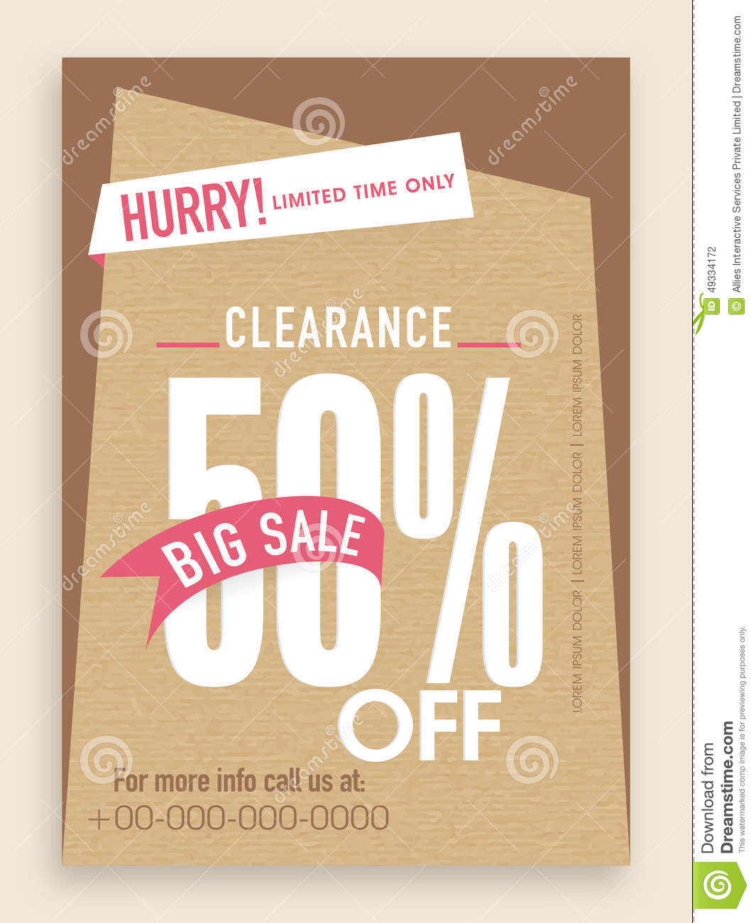 Sale 50% Off Flyer, Banner Or Template. Stock Photo