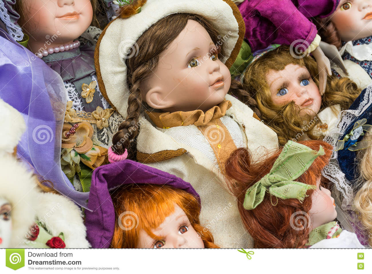 Sale of old dolls at a flea market