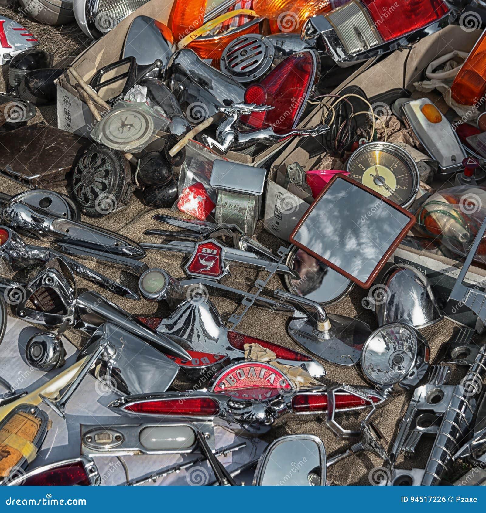 KIEV, UKRAINE - 01 OCT 2016: Old Car Land 2016 show. Sale of parts of vintage  cars