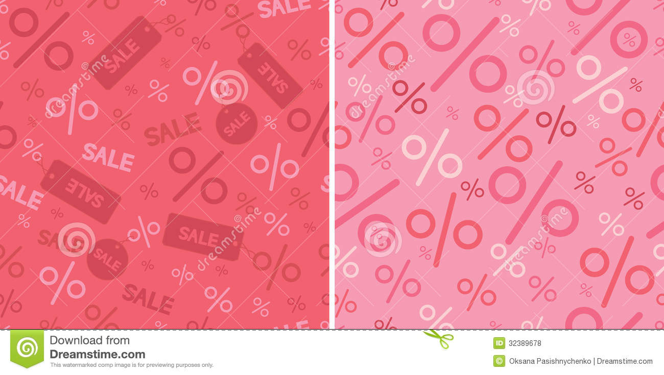 Sale And Percentage Signs Two Seamless Pattern Royalty