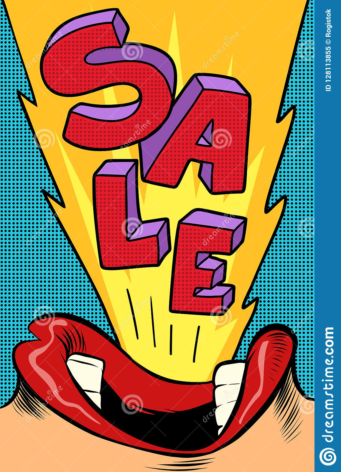 Sale Pop Art Style Female Mouth Stock Vector Illustration Of