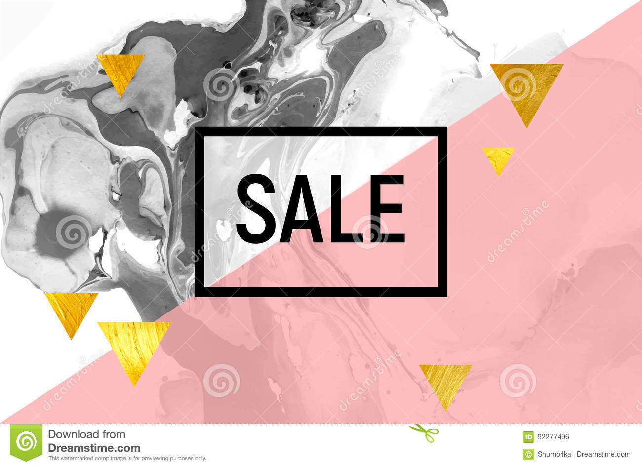 Sale Poster Black And White Marble Pink Stripe Gold Foil Triangles Stock Vector Illustration Of Beautiful Design 92277496