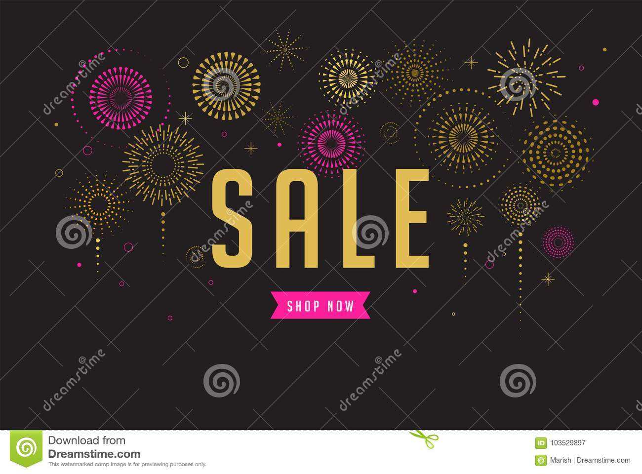 Sale poster, Fireworks and celebration background