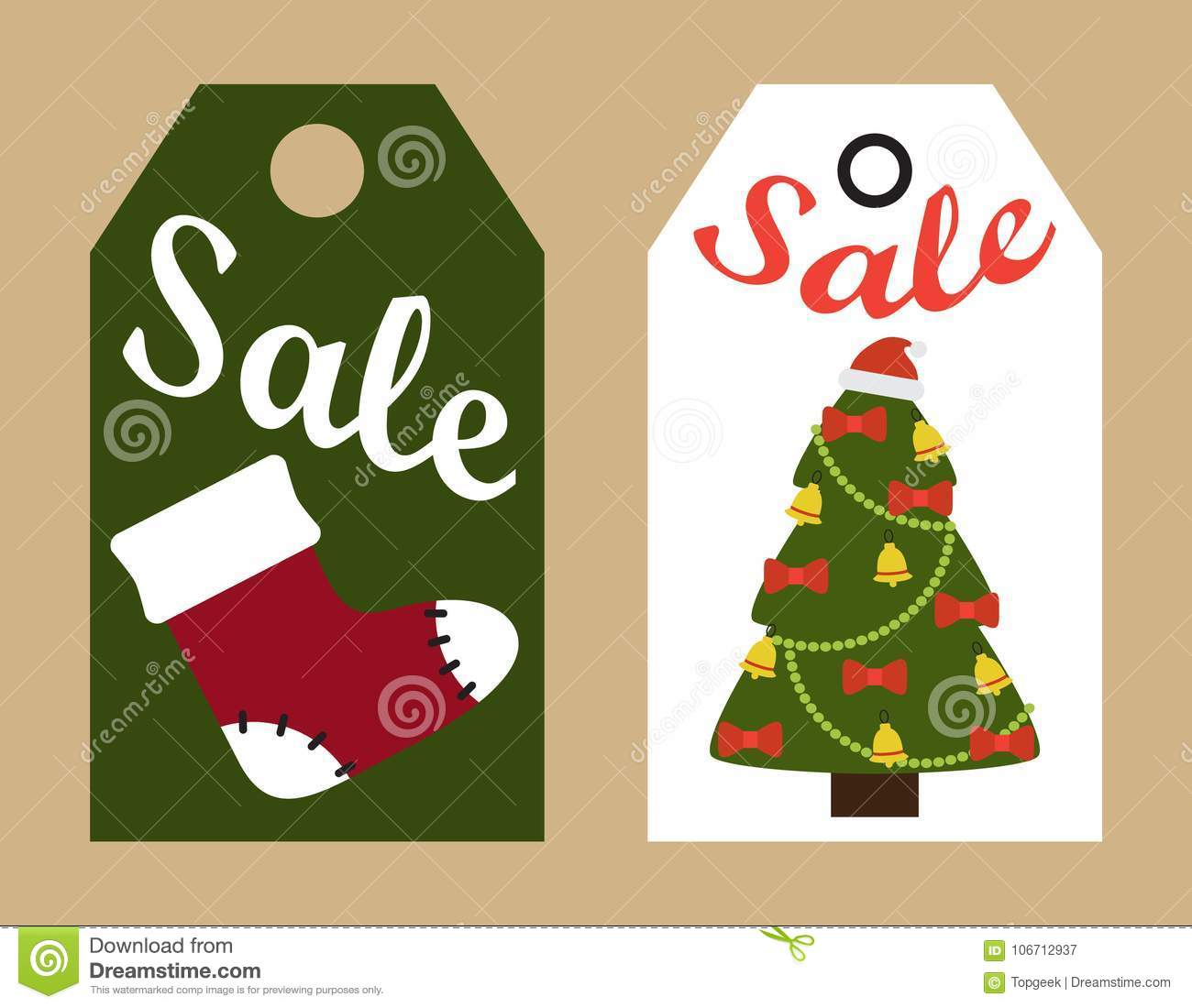 Sale Promo Tags Ready To Use Labels Christmas Tree Stock Vector