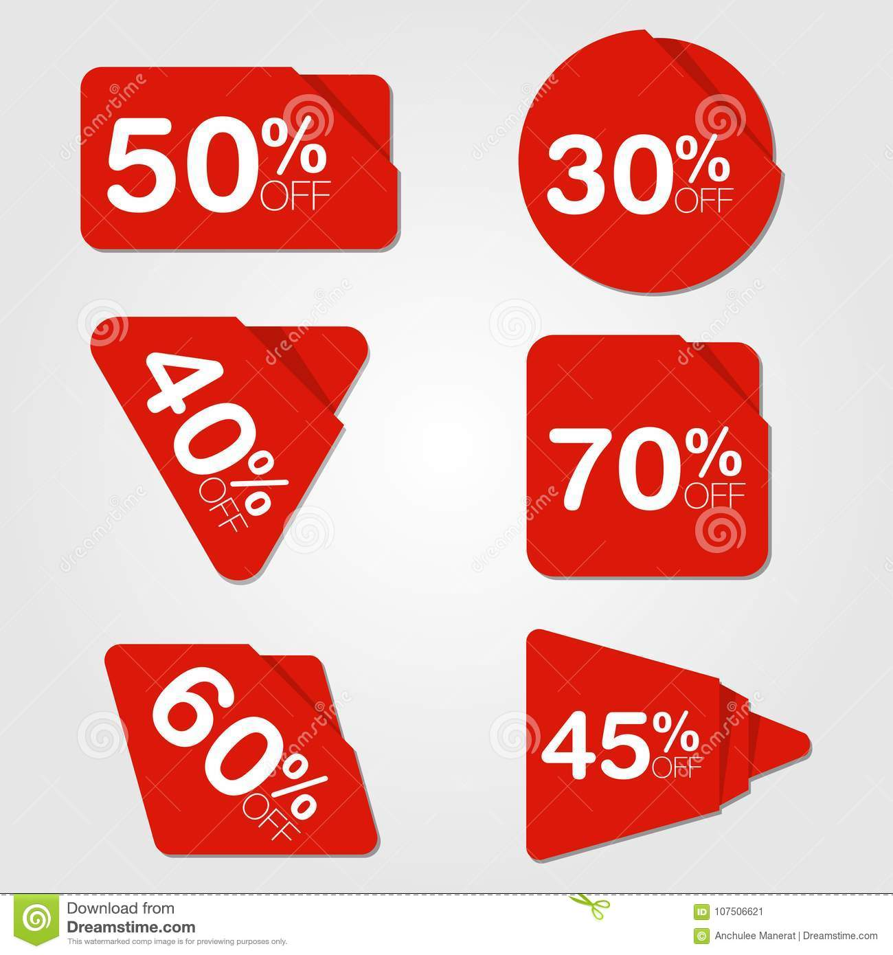 Sale Promotion Price Red Label Tag Set Symbol Stock