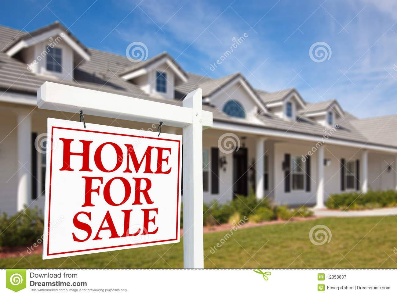 For Sale Real Estate Sign And New Home Royalty Free Stock