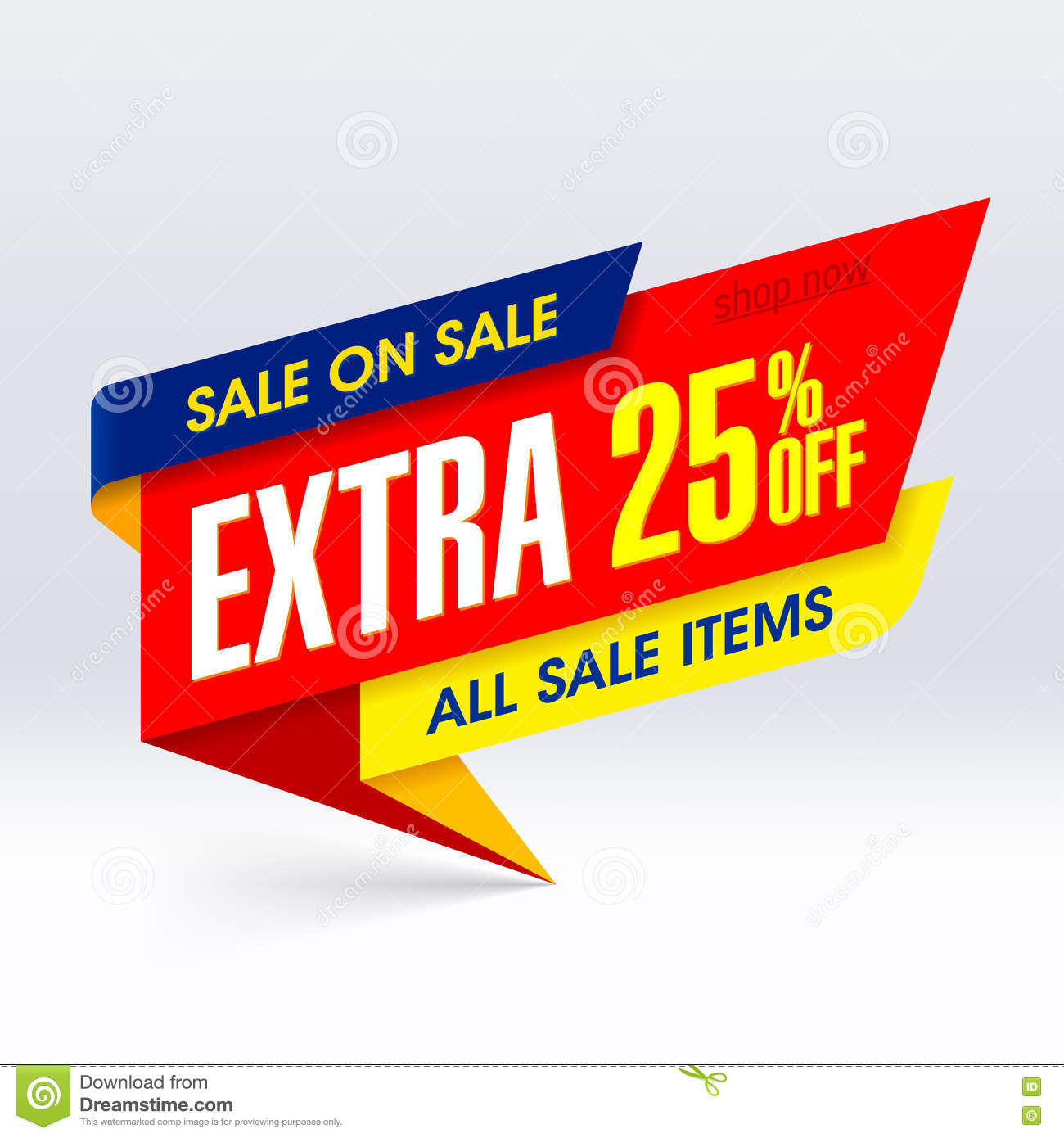 Sale: Sale On Sale Paper Banner, Extra 25% Off Stock Photo