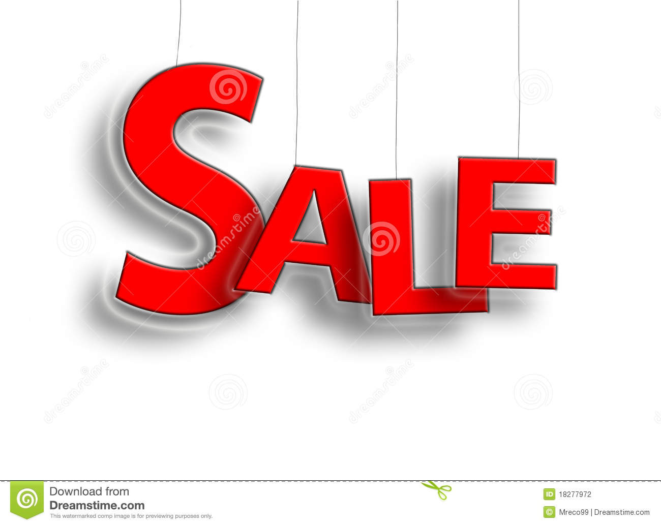 sale sign hanging in red stock photo  image of white