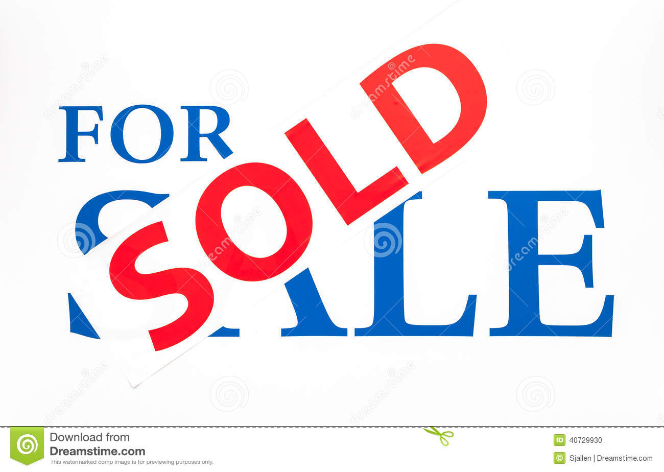 For Sale Sold Sign: For Sale Sign With Sold Sticker Stock Photo