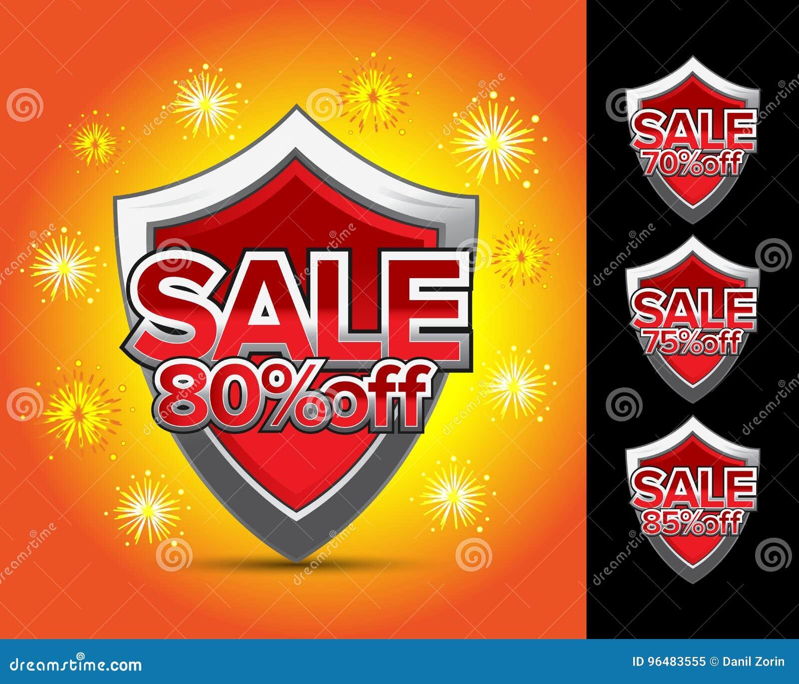 Sale sköld 80  av, försäljningssköld 70  av, försäljningssköld 75  av, försäljningssköld 85  av emblem Vapen sköldklistermärke, b