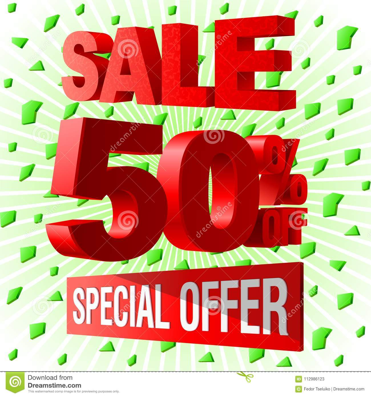 Sale special offer 3d advetising block.