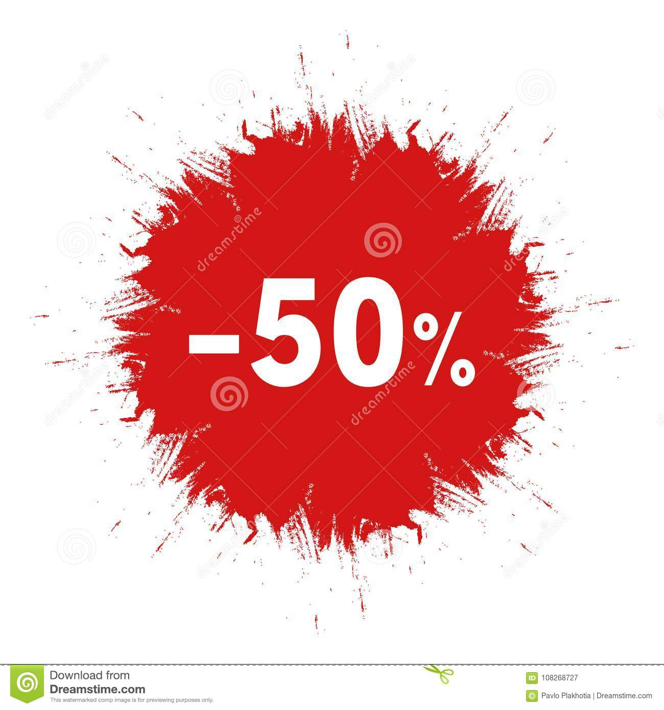 sale sticker template red ink blot icon 50 percent off price sign