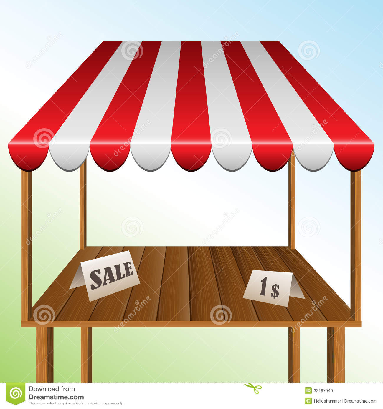 Sale Table With Stripped Awning Stock Vector Image 32197940