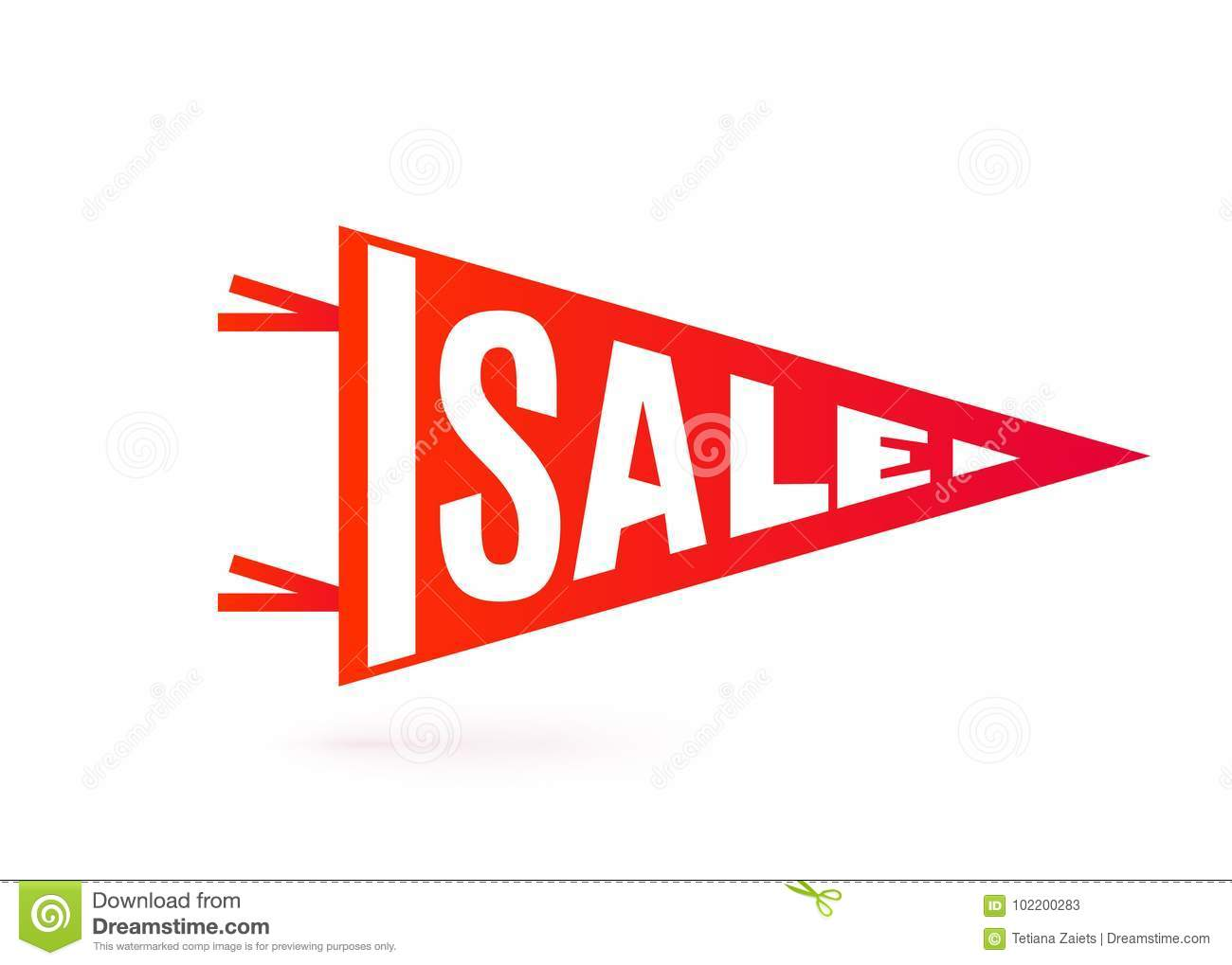 Sale tag design. Pennant flag typography motion concept