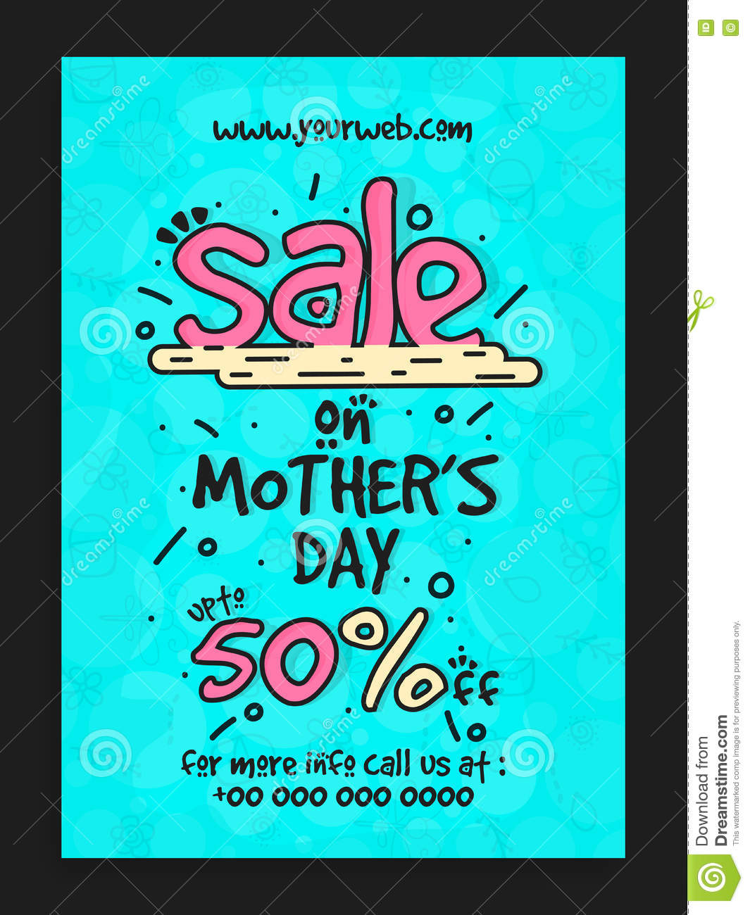 Mothers Day Storewide Sale Template: Sale Template, Banner Or Flyer For Mother's Day. Stock