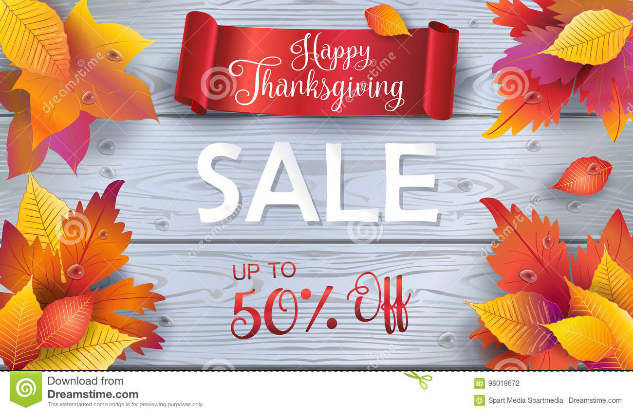 sale thanksgiving fall leaves on wood wallpaper stock vector