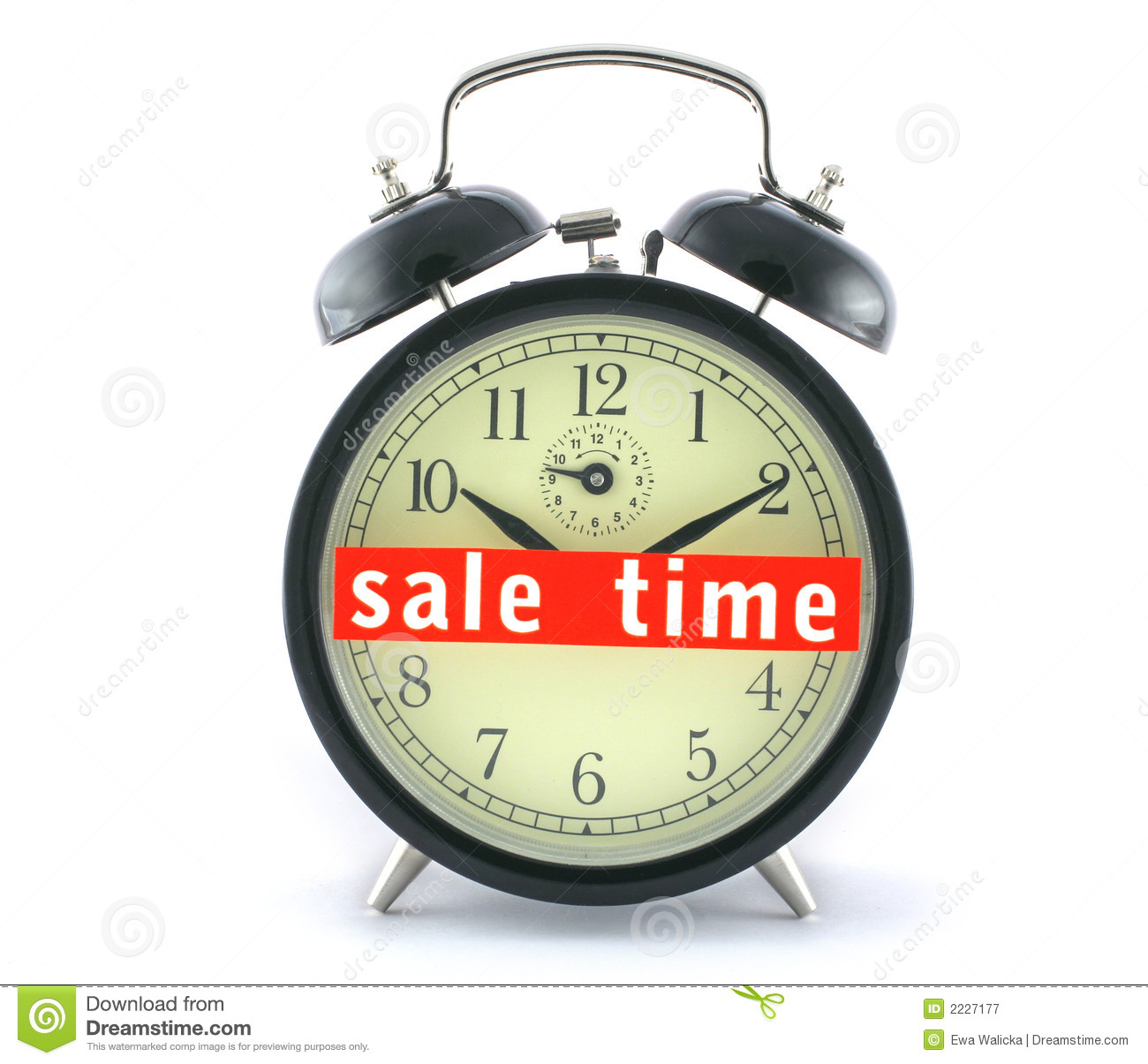 Sale Time On Alarm Clock Stock Image Image Of Hurry