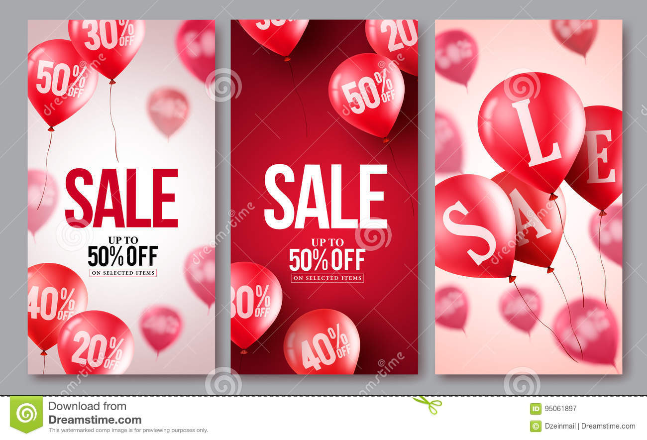 Sale vector balloons poster set. Collections of flying balloons with 50 percent off