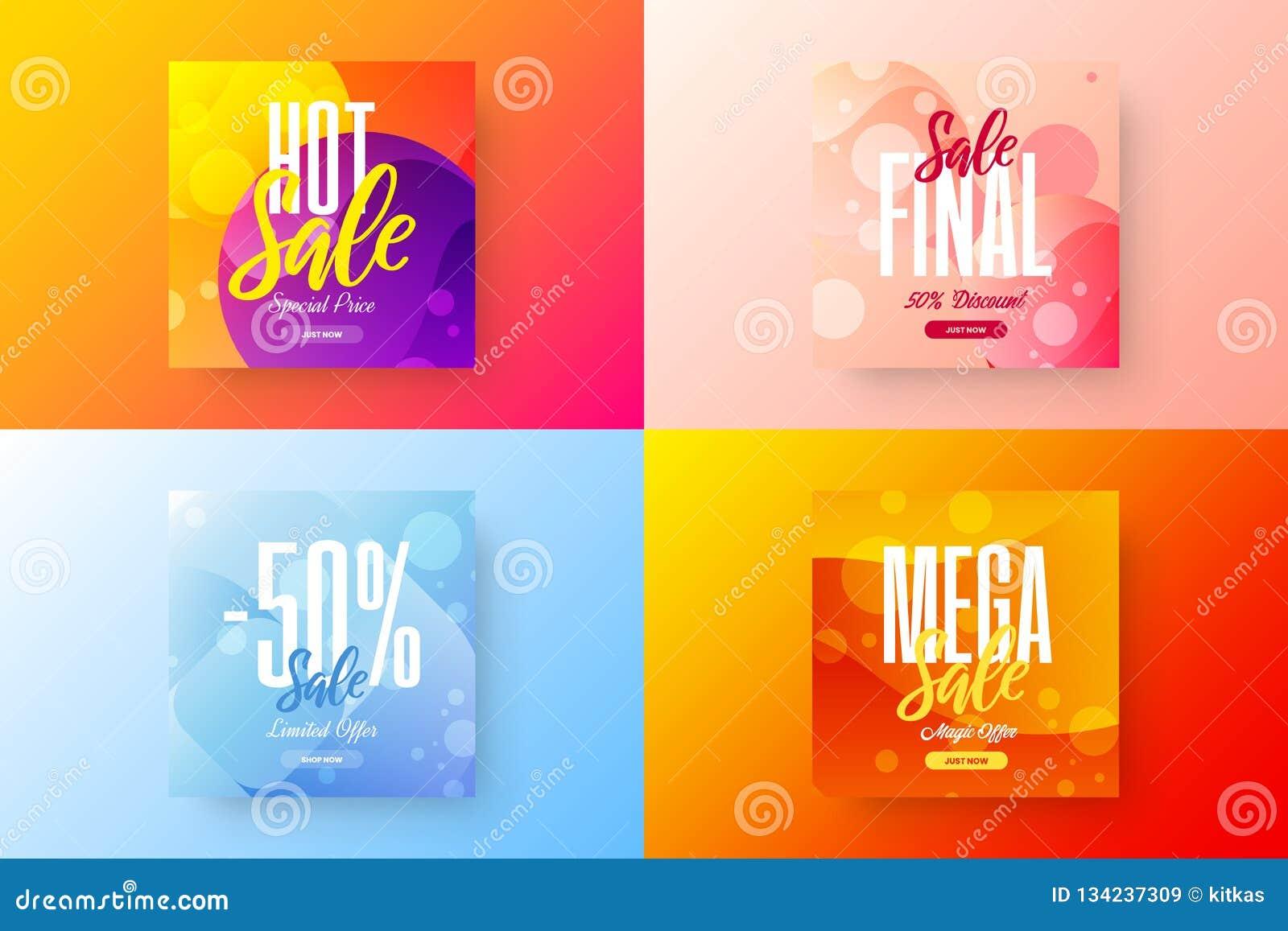 Sale vector banner template bundle. Special offer discount social media illustration layout set. Advertising shopping design.