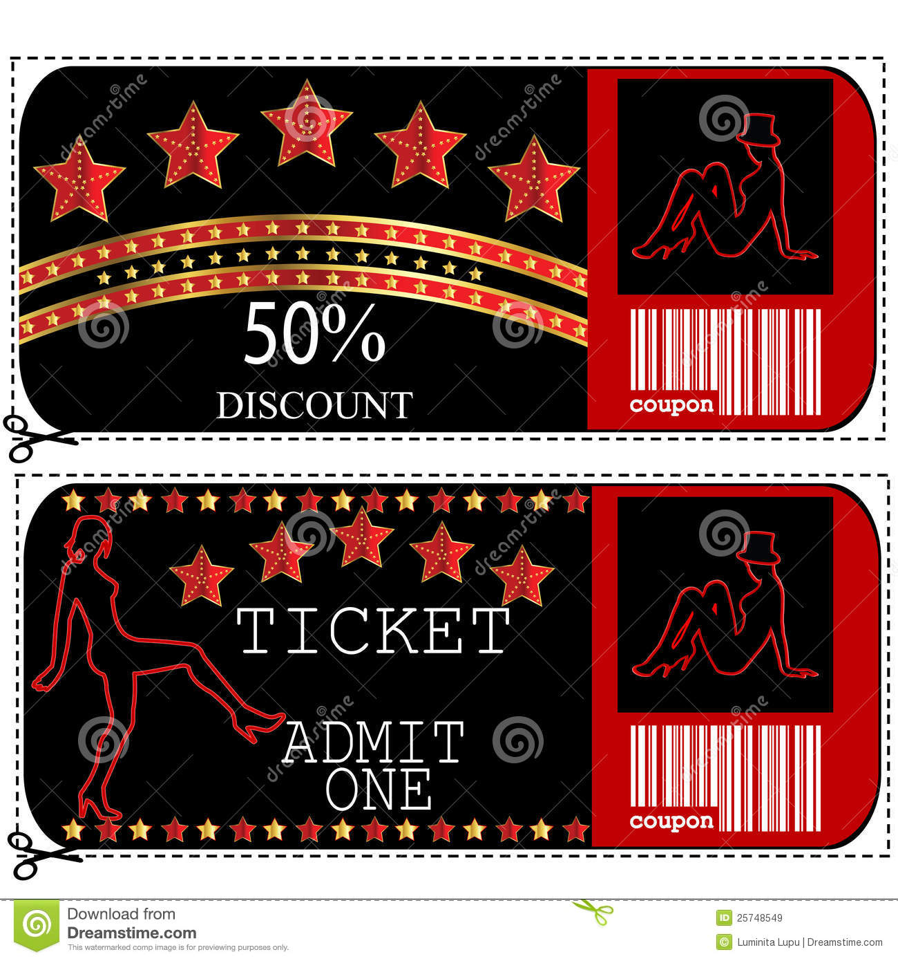 Sale Voucher And Ticket For Night Club Or Casino Royalty