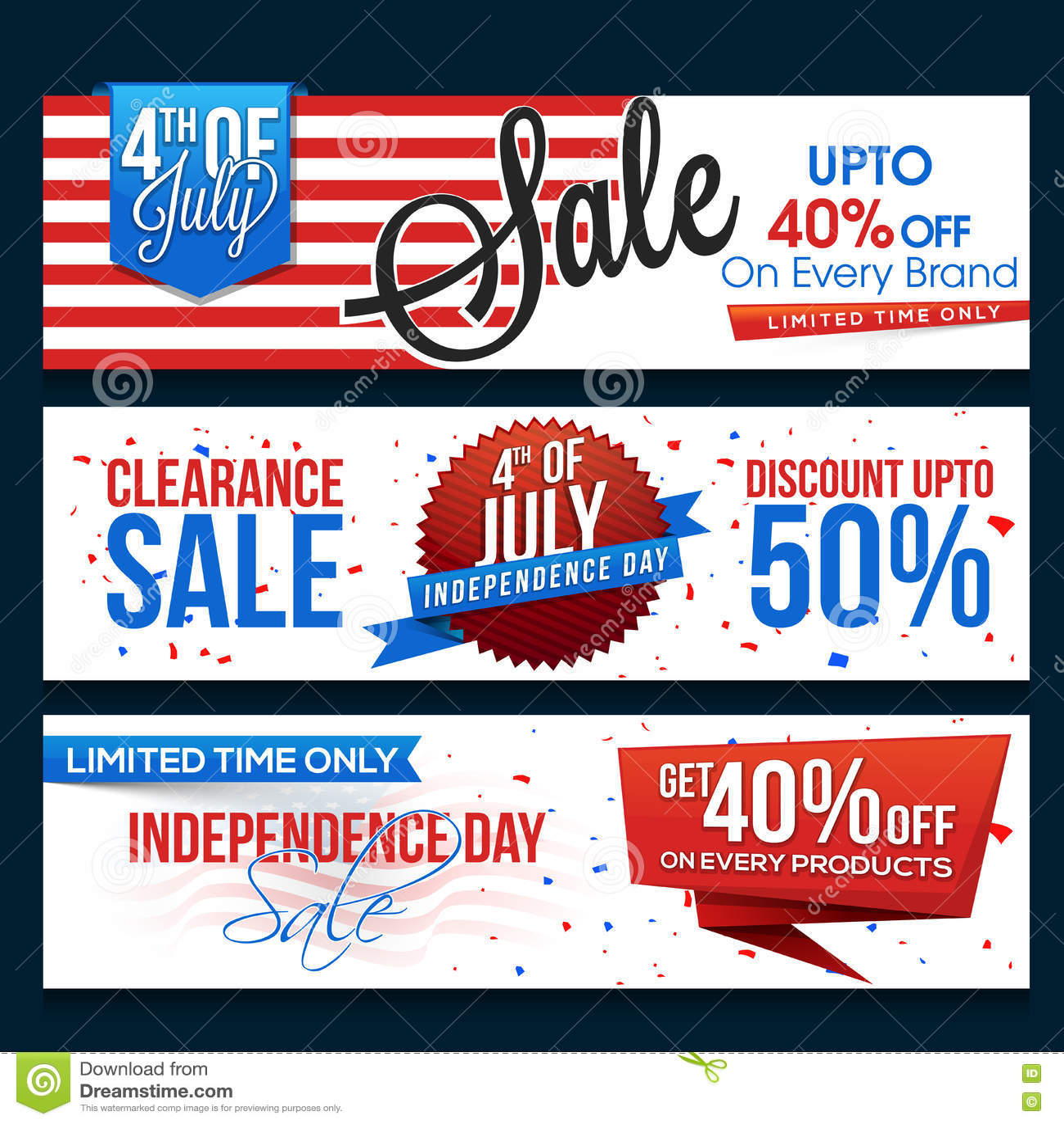 Sale Web Header Or Banner For 4th Of July Stock Illustration
