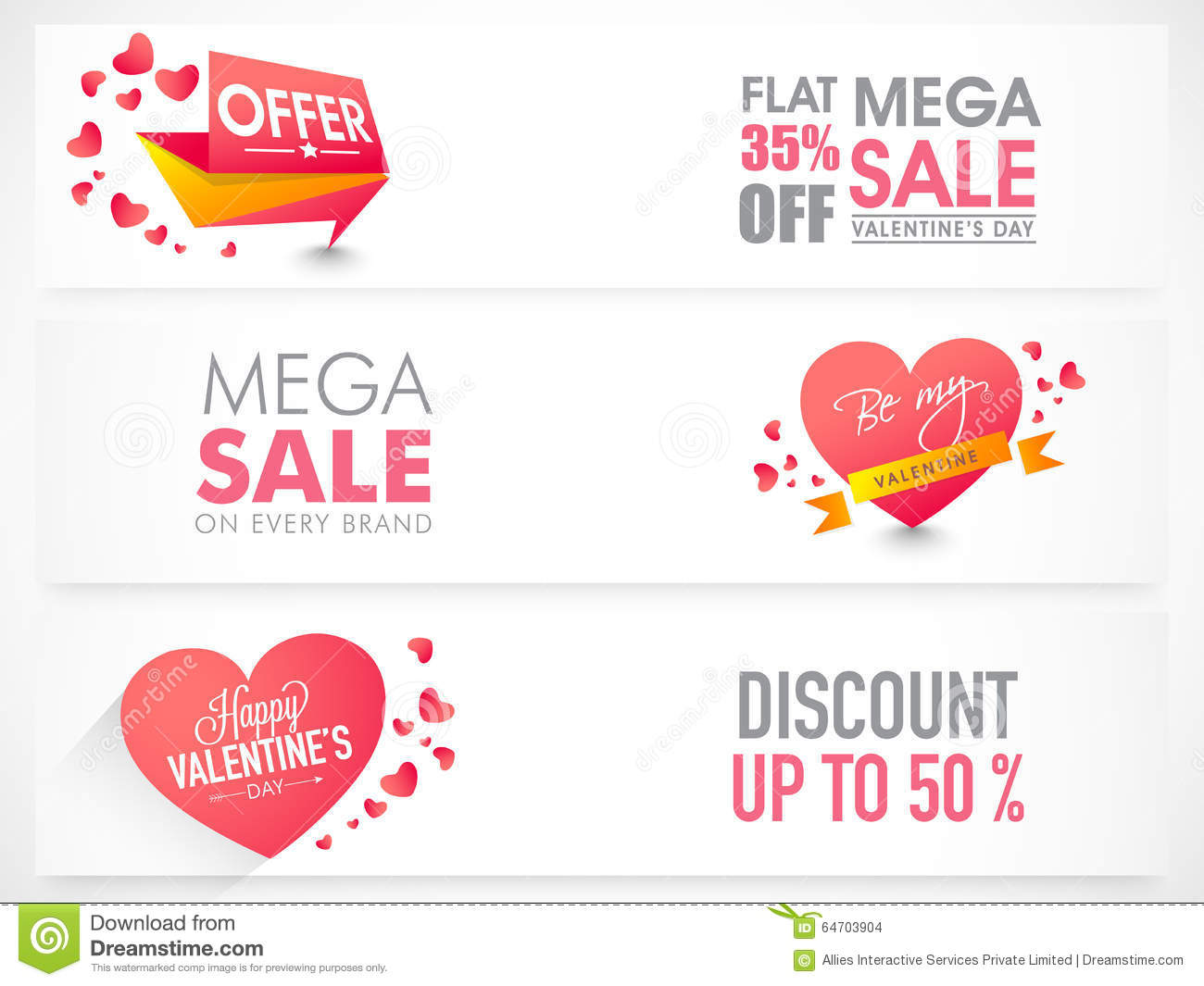 Sale Web Header Or Banner For Valentine's Day  Stock