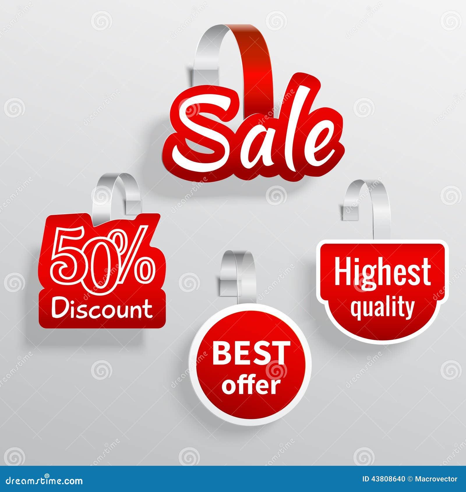 sale wobbler set stock vector