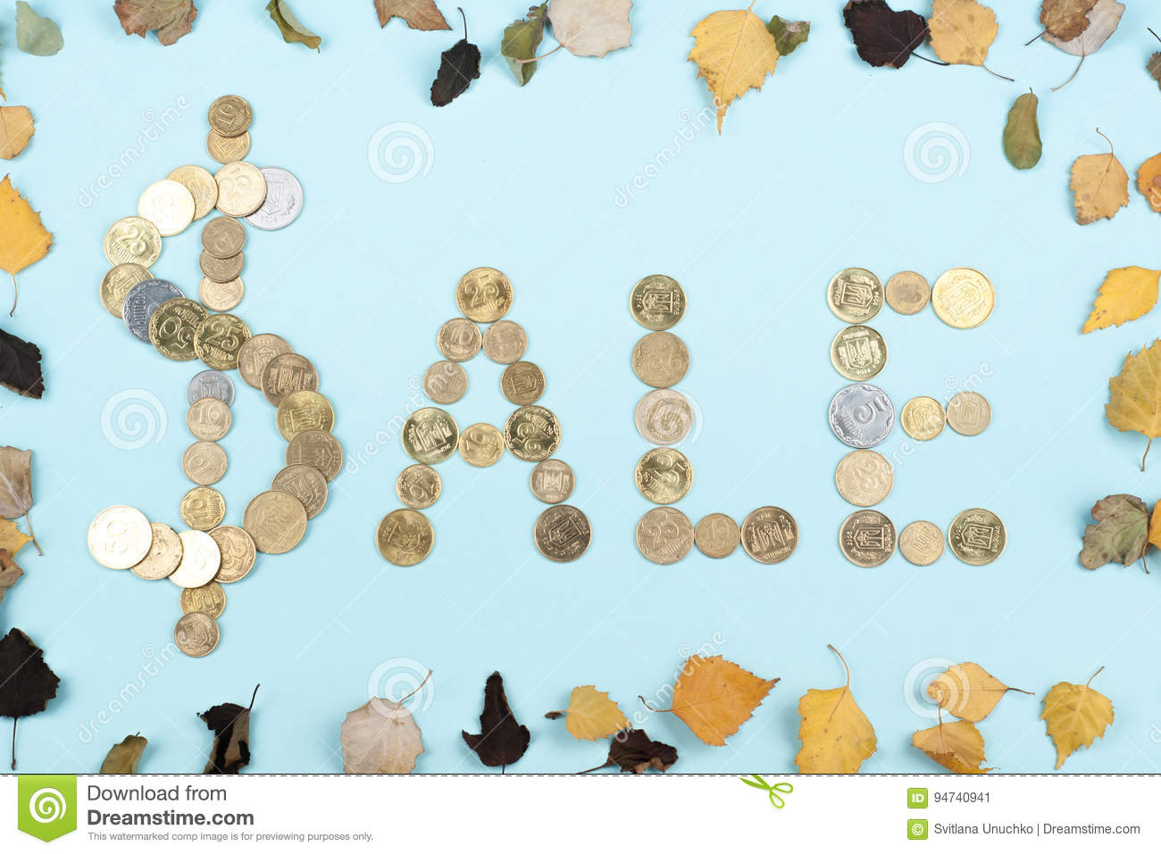Sale word on blue background composed from colorful abc alphabet block wooden letters, copy space for ad text. Learning