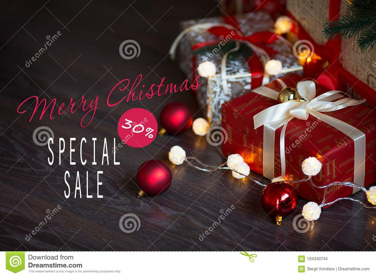 sales on christmas and new year holidays festive decoration with informative inscription of 30 percent - Christmas Eve Sales