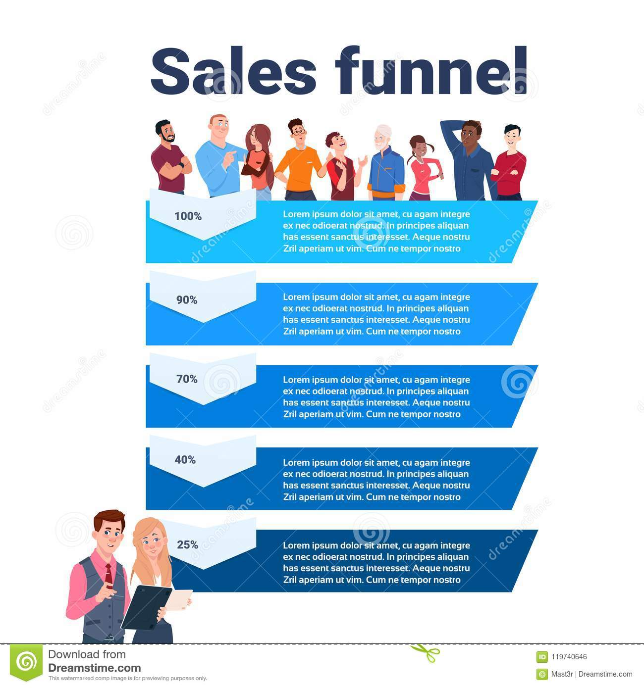 Sales Funnel With Mix Race People Portrait Stages Business ...