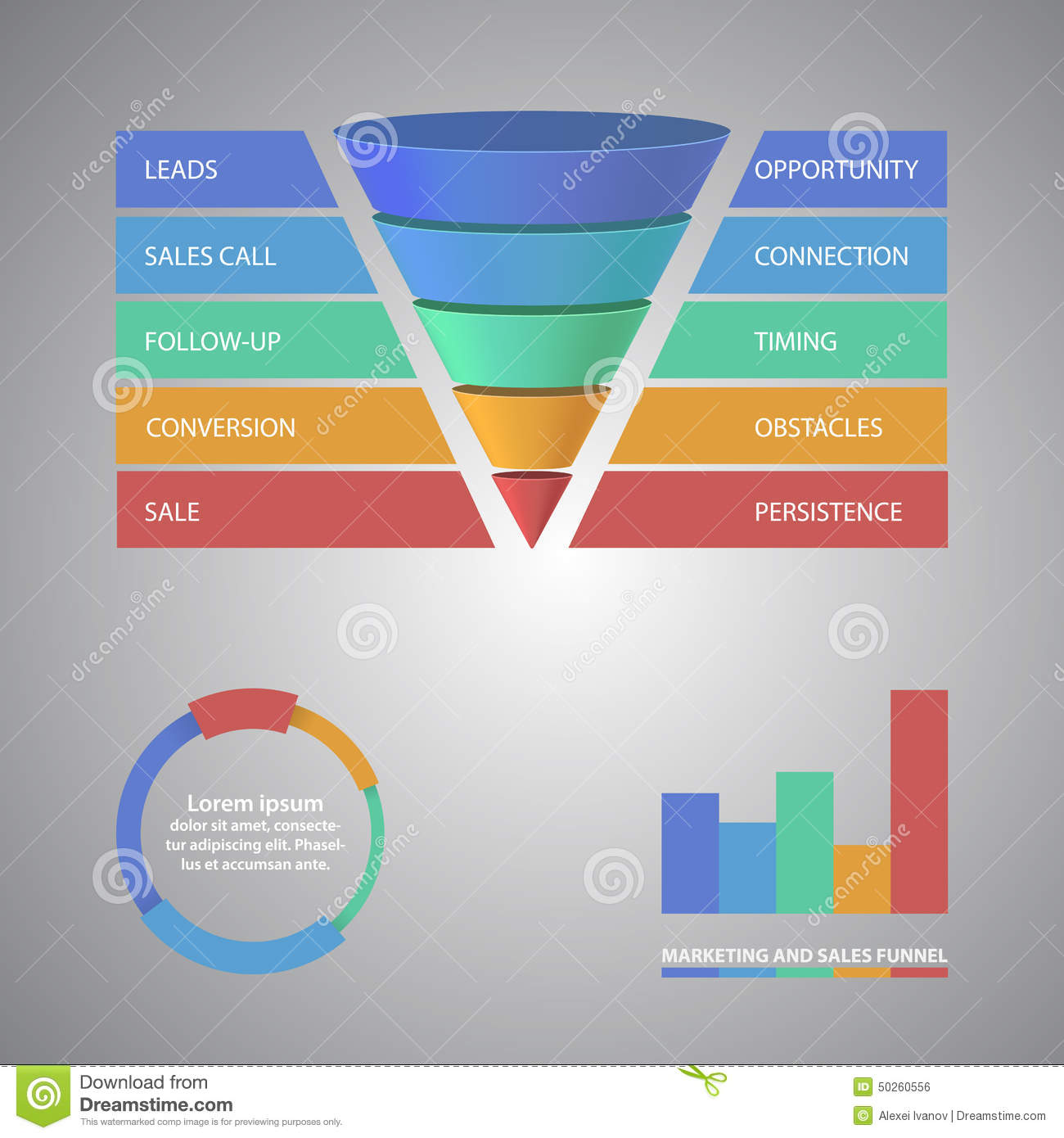 sales funnel template for your business stock vector - image: 50260556, Modern powerpoint